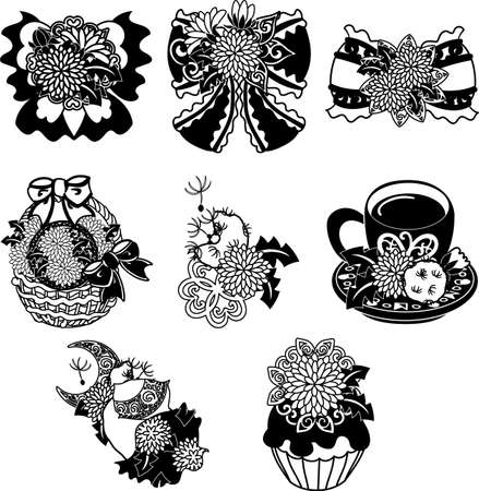 The cute icons of dandelion such as ribbon and flower basket and coffee and cake