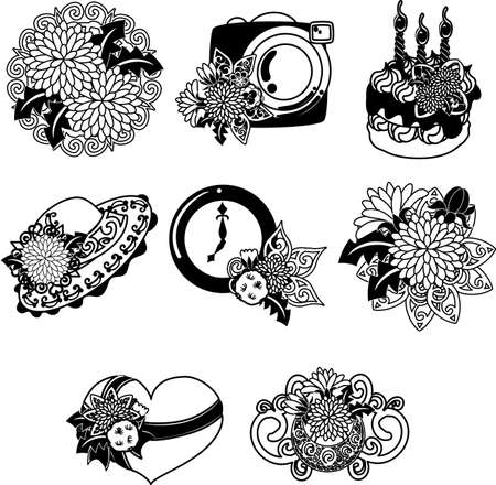 The cute icons of dandelion such as camera and cake and heart and hat and clock and tiara