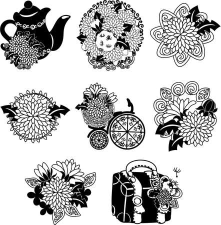 The cute icons of dandelion such as pot and bouquet and bicycle and bag