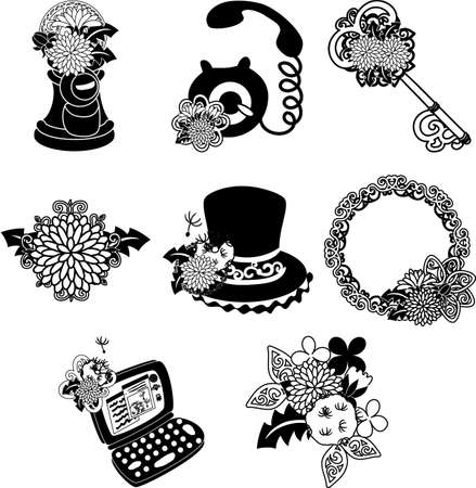 The cute icons of dandelion such as post and telephone and key and PC and silk hat and wreath
