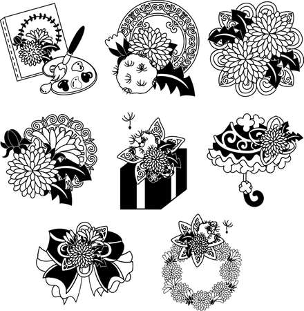 The cute icons of dandelion such as canvas and ribbon and present and parasol and wreath