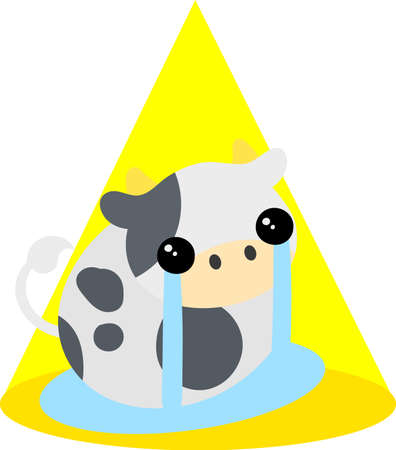 Illustration of a round cow like a stuffed animal spilling tears 矢量图像
