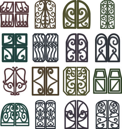 Fashionable window frame icons in various shapes Vettoriali