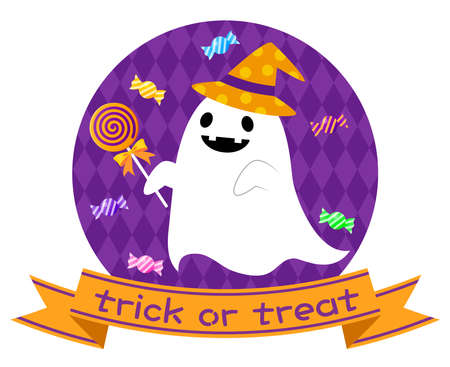 Illustration of Halloween ghost with sweets