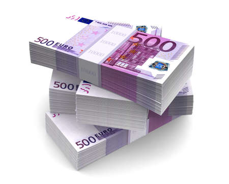 Euro Bills Packs  with clipping path Stock Photo - 17259247