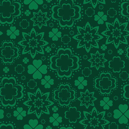 paddys: Green clover seamless pattern