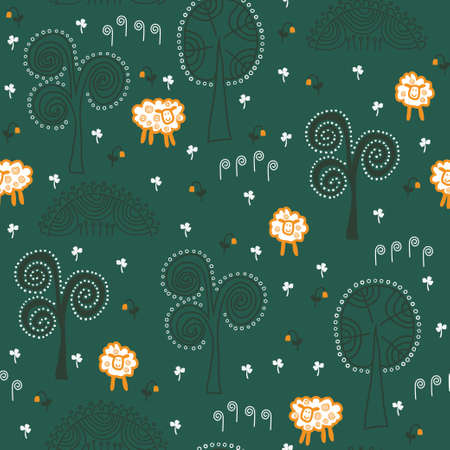 Hand drawn seamless pattern for St. Patrick\ Vector