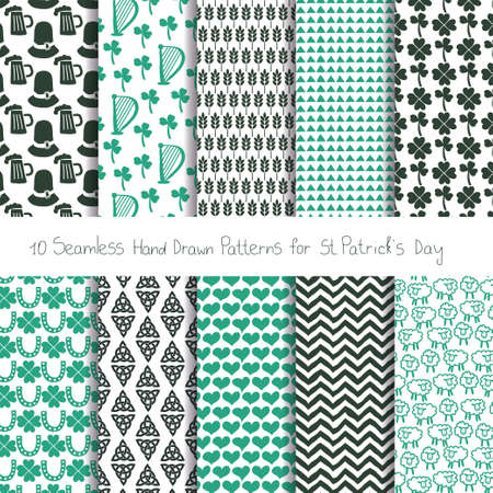 Set of 10 hand drwan seamless patterns for St. Patrick