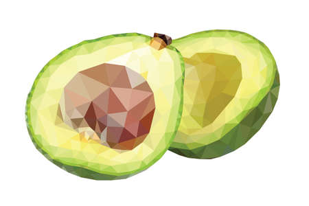 low cut: Low poly avocado cut in halves Illustration