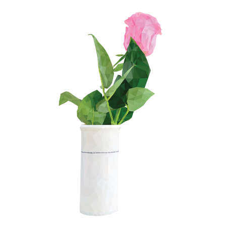 Low poly rose flower in a vase Vector