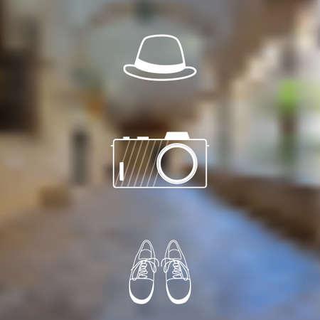 keds: Ancient building blurred background. Travel concept Illustration