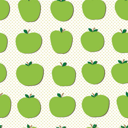 green apples: Hand drawn green apples vector seamless pattern