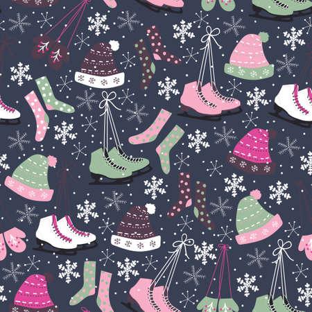 winter hat: Christmas vector seamless pattern. Ice skates, socks, hats, mittens, snowflakes