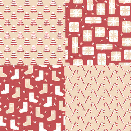 four pattern: Four vector seamless pattern for Christmas Illustration