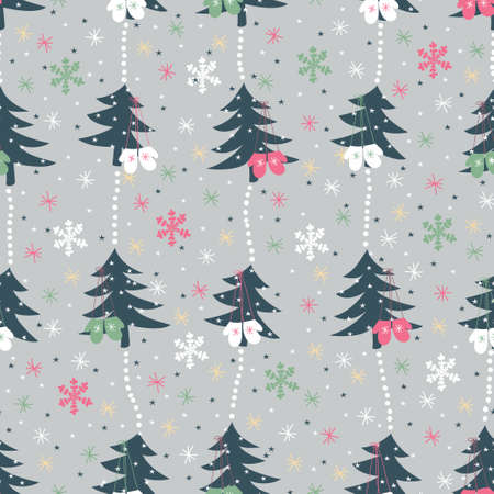pone: Christmas vector seamless pattern.Garlands of pone trees with mittens, snowflakes and stars Illustration