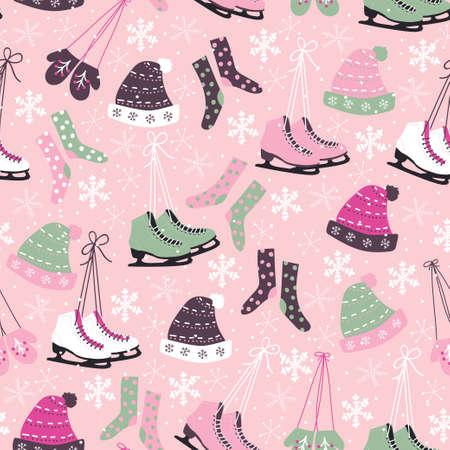 ice skate: Christmas vector seamless pattern. Ice skates, socks, hats, mittens, snowflakes