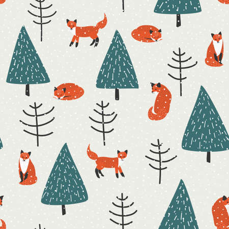 fox animal: Orange foxes, trees and snow vector seamless patter