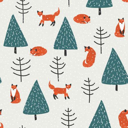 zorro: zorros, árboles de naranja y golpeteo inconsútil de la nieve del vector