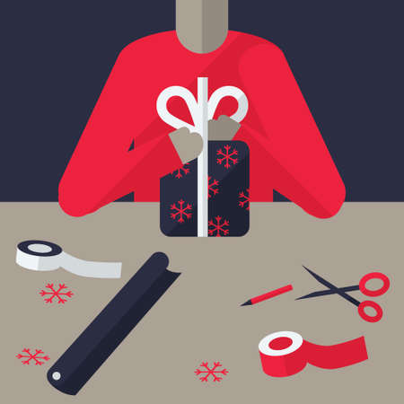 gift wrapping: Gift wrapping concept. Modern flat illustration