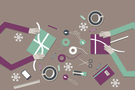 paper craft: Concepto de envolver regalos, ilustración moderna plana desde arriba