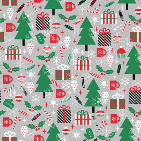 christmas element: Christmas vector seamless pattern. Pine trees, gift boxes, candies, mugs, mistletoe, cupcakes Illustration