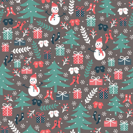 mittens: Christmas vector seamless pattern. hand drawn snowman, trees, gift boxes, socks, mittens, snowflakes