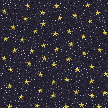 lucero: Mano dibujado estrellas y c�rculos sobre fondo violeta oscuro vector sin fisuras patr�n