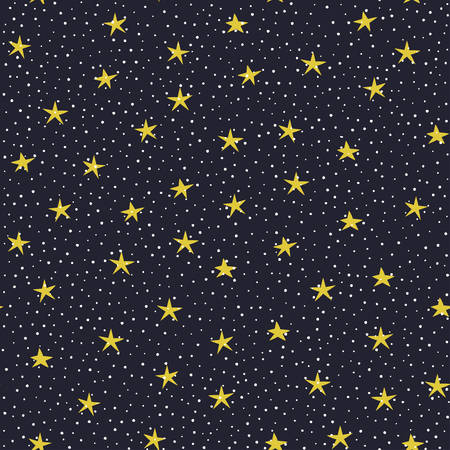 Hand drawn stars and circles over dark violet background vector seamless pattern