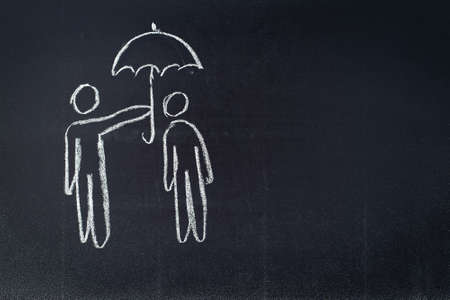 care providers: Chalkboard sketch symbolizing protection, insurance, support
