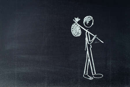 going away: Chalk sketch. Character living scene symbolizes job lose, unemployment, going away.