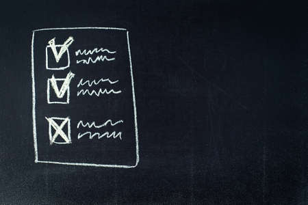 Checklist chalkboard sketch, making decisions, checking results.