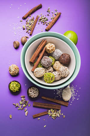 Variety of sugar free vegan truffles with nuts and nuts, top view Stock fotó