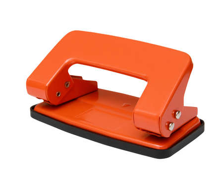 punch press: Red office paper hole puncher isolated on white background