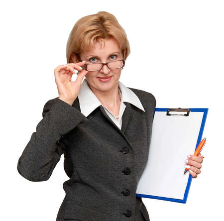 corrects: Female office worker Stock Photo