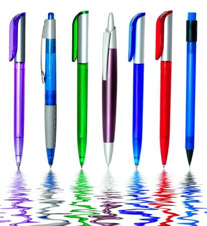 Multi-coloured ball pens in water Stock Photo - 5889678
