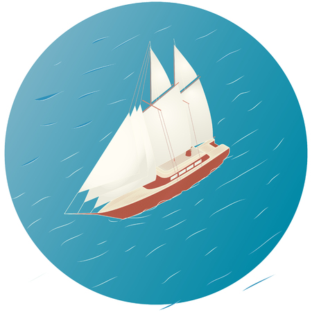 brigantine: Sailing ship. Advertisement, infographics game or mobile apps icon.