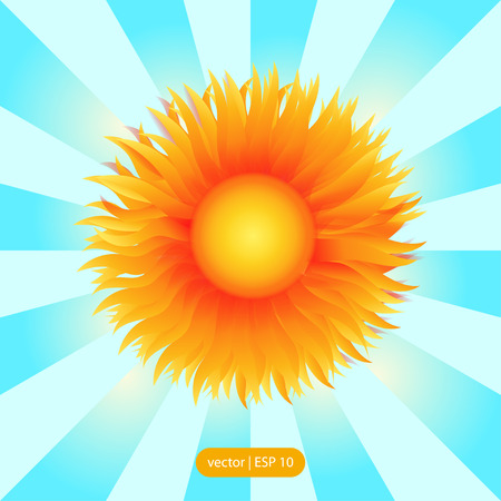 Vector sun illustration with rays background. EPS 10.