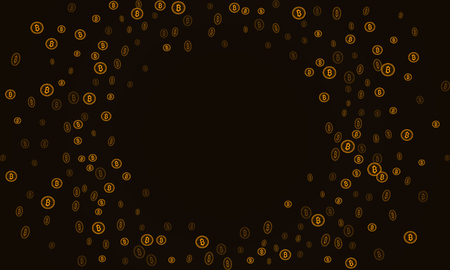 Bitcoins security business background. Bitcoin crypto mining visualization. Business wallet background, security currency exchange, vector model. Crypto virtual payment finance. Gold money trading.