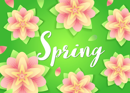 Spring background. Flowers and lettering on abstract green . Fresh season design. Vector typographical illustration