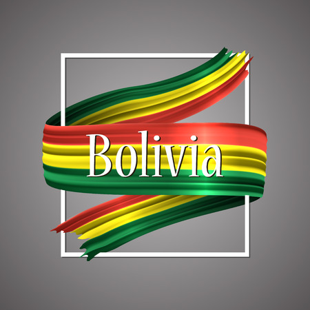 Bolivia flag official national colors. Bolivian 3d realistic ribbon, waving vector patriotic glory flag stripe sign vector illustration background. Icon design frame for banner, poster or print. Vettoriali