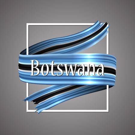 Botswana flag. Waving vector patriotic glory flag stripe sign.