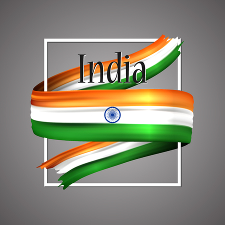 India flag. Waving vector patriotic glory flag stripe sign.