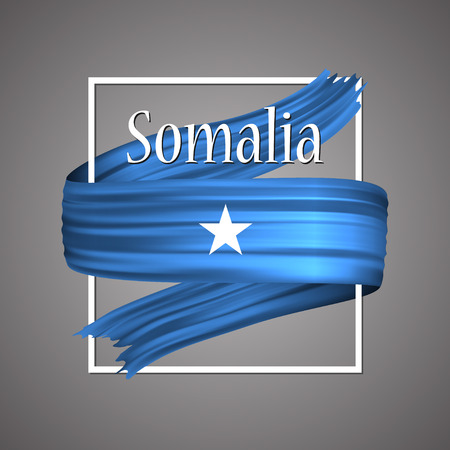 Somalia flag. Official national colors. Somalian 3d realistic ribbon. Isolated waving vector glory flag stripe sign. Vector illustration backgroun. Icon emoji design with frame Vetores