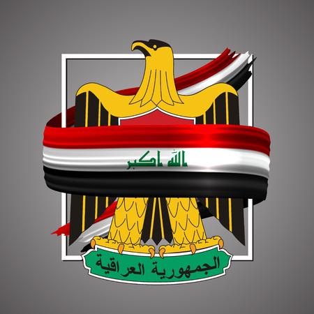 Iraq flag and symbol. Official election emblem, national colors. Vektorové ilustrace