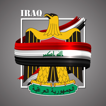 Iraqi coat of arms 3d realistic ribbon with gold eagle illustration Ilustrace