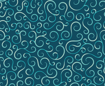 Retro seamless wave lines pattern.Curl outline art decoration ornament swirl shapes for textile,fabric,tracery or tile background.Classic elegant antique texture design.Ornate deluxe seamless pattern Vetores