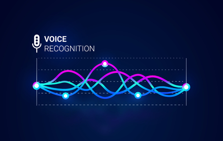 Personal assistant. Voice recognition. Smart sound technologies. Microphone  with voice and sound. Vector background. Intelligent music waves recognition technology.  イラスト・ベクター素材