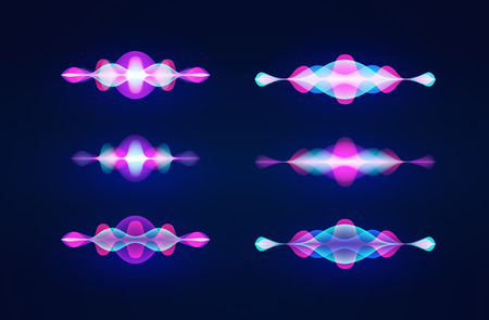 Personal assistant voice recognition concept. Artificial intelligence technologies. Sound wave logo concept for voice recognition application, website background. Home smart system assistant. Vector Vectores