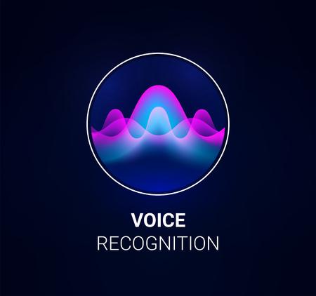 Concepto de reconocimiento de voz de asistente personal. Tecnologías de inteligencia artificial. Concepto de logotipo de onda de sonido para aplicación de reconocimiento de voz, fondo de sitio web o asistente de sistema inteligente para el hogar. Vector Logos