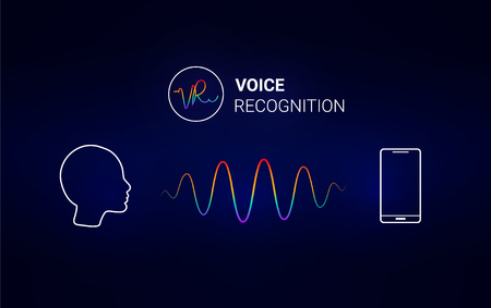 Voice recognition. Personal assistant. Smart music sound waves or voice recognition technology. Concept with microphone ai icon. Futuristic vector background. Çizim